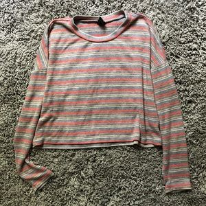 wild fable striped cropped long sleeve tee